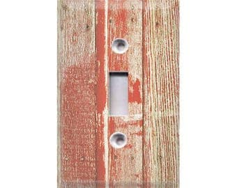 Country Rustic - Red Distressed Wood Light Switch Cover