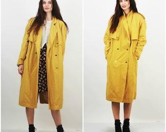 80's Duster / Maxi Jacket / yellow Trench Coat / Cotton Coat / Baggy Coat / Women / Large / XL