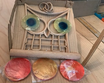 Vintage  hand made owl wood and shell wind chimes.