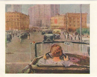 New Moscow 1937 by Yu. Pimenov Soviet Russia postcard Pastel 1963  Streets, antique car cabriolet