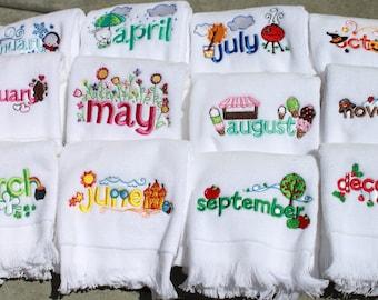 Kids Fingertip Towel Set - Fingertip Towel Set - Kids Towel Set - Gifts for Kids - Months Hand Towels - Kids Bathroom