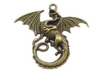 ABJ003 - Ascending Dragon Pendant in Antique Bronze/Brass Finish