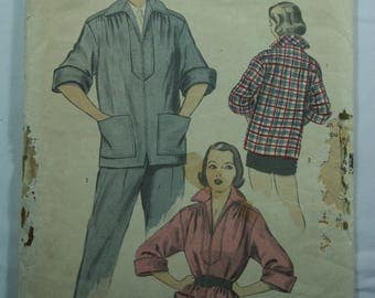 Vintage Advance Pattern #5859 Sport Shirt, Vintage Paper, Ephemera, 1940's, Women's, Clothing, Sewing, Crafts, A-130
