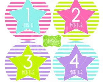 Stars and Stripes Baby Monthly Stickers - Baby Bodysuit Stickers - Monthly Baby Stickers - Girl Baby Stickers - Milestone Stickers - 043