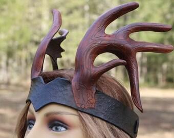 leather deer antler 5 point head piece