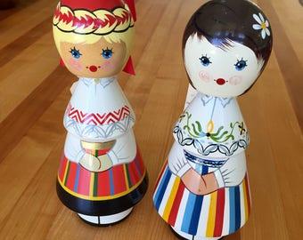 Vintage Russian Hand Painted Folk Art Salvo Soviet Russia Estonia Doll Figure Pair of 2