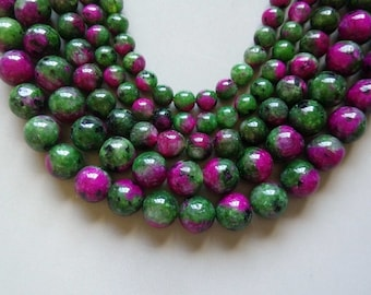 Full Strand 15inches Ruby Zoisite Round Beads - A513