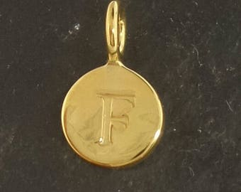 Gold on sterling silver round letter charm F, gold initial F charm,  stamped gold letter charm  , F gold vermeil initial charm
