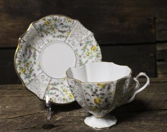 Vintage Trimont Ware Bone China Tea Cup and Saucer Set, Yellow Rose Tea Set with Ribbed Sides
