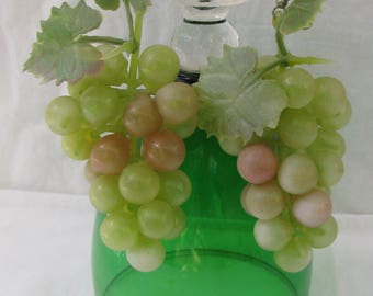 Huge and Totally KITSCH Green Grape Cluster Plastic Earrings, For Pierced Ears, 3 & 3/4""