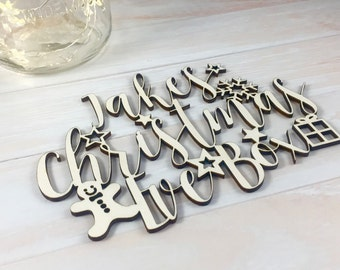 Personalised Wooden Christmas Eve Box Lettering