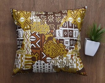 "African Pillow Cover, Tribal Pillow Cover, BOGOLAN cotton fabric cover for 18"" x 18"" inserts - Ref: 0VBM"