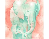 Coral and mint Baby Elephant and Mom watercolor print of my original painting, by Katrina Pete. Perfect for an Elephant baby shower.