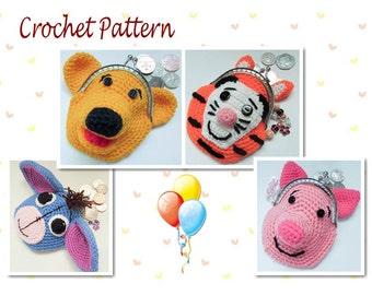Crochet Pattern Winnie The Pooh Bear Piglet Eeyore Tigger Animal Coin Purse Novelty Purse Character Purse Crochet Pattern Bundle