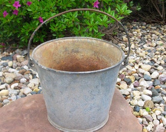 LARGE galvanized pail -metal bucket -HEAVY DUTY -large pail -farm pail  - feed bucket- rustic primitive - swinging handle- porch planter
