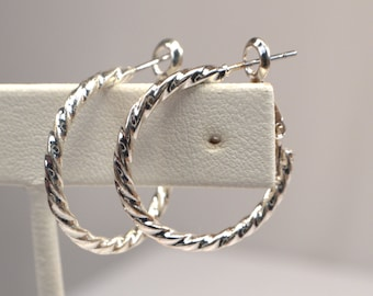 Silver Hoops, Silver Twist Hoop Earrings, Vintage Silver Earrings, Retro Silver Hoops, Everyday Twisted Silver Hoop Earrings (E941)