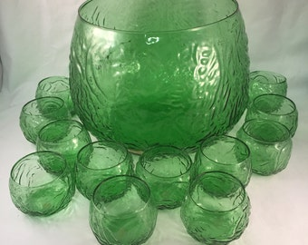Beautiful 13 Piece Embossed Green Punch Bowl Set, Large Bowl with 12 Cups, La Casa Casuals, Made in Italy