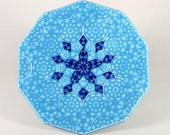 Blue Mandala Plate - Cobalt and Turquoise Porcelain Plate - Sacred Geometry Platter -Ceramic Fruit Plate