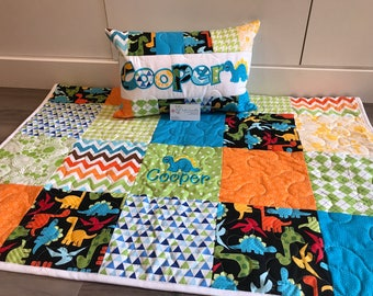 Dinosaur quilt and pillow set for babies and toddlers