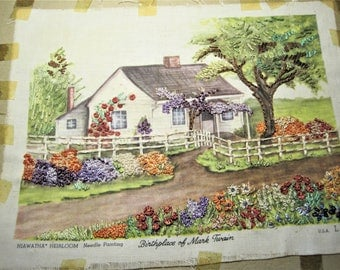 Vintage Hand Embroidered Picture of Mark Twains Home ~ Heirloom Picture ~ Fabric Art ~ Unframed ~