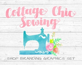 Rustic Sewing Shop Branding Banners, Avatar Icons, Business Card, Logo Label + More - 13 Premade Graphics Files - COTTAGE CHIC SEWING