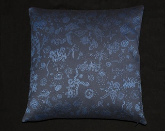 """Charles & Ray Eames Sea Things Blue -- Mid-Century modern accent Pillow -  17"""" X 17"""" insert included"""