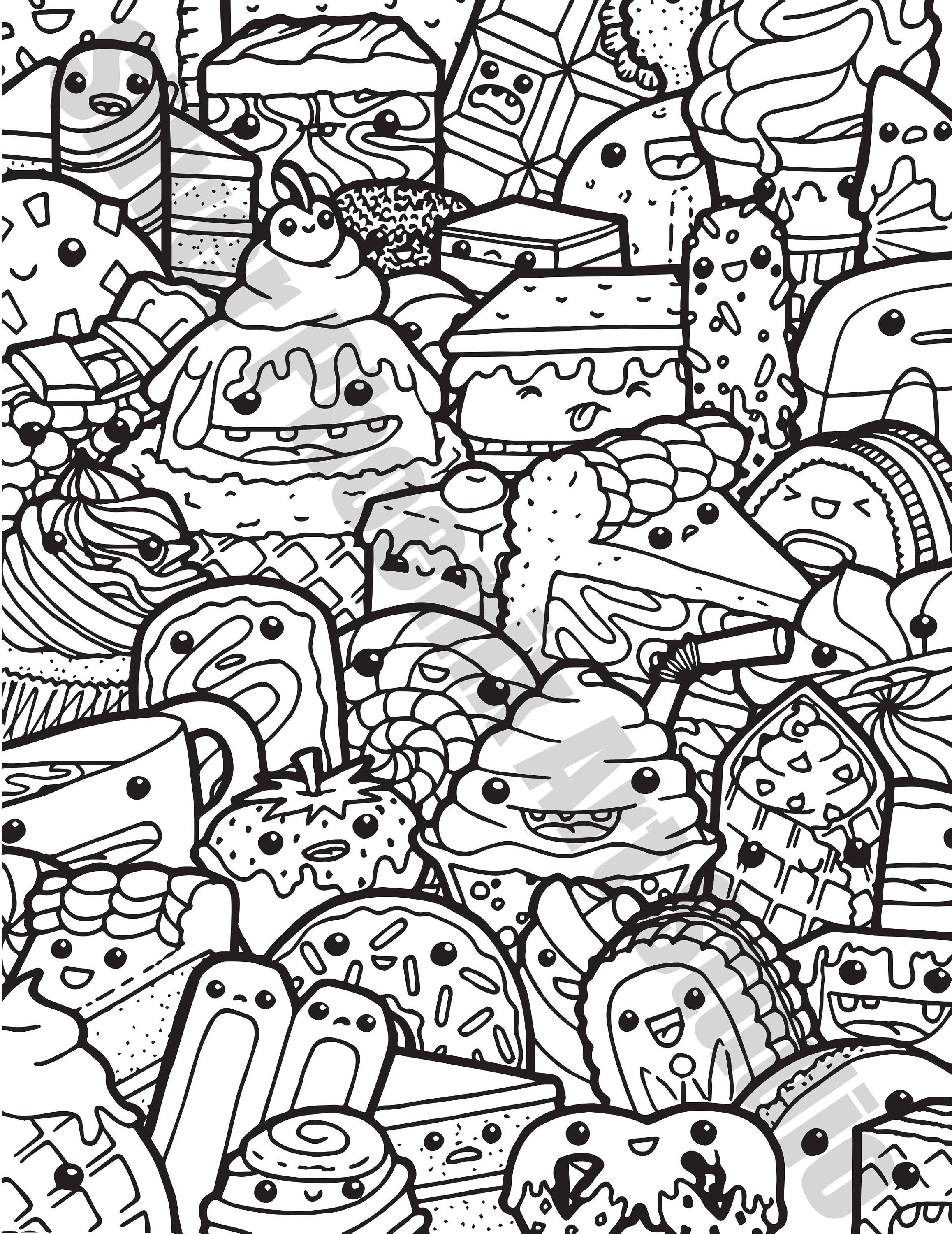 kawaii doodle coloring page printable digital