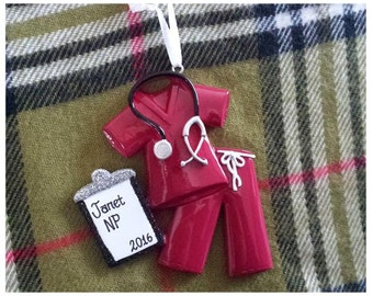 Personalized Maroon Scrubs Gift for Doctor, Nurse/Medical School Grad/Retirement Gift, RN, MD & More - Scrubs Ornament or Magnet