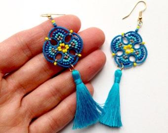 Tassel tatted earrings made in Italy | striped beaded earrings | tatted lace long earrings | ethnic  jewelry | lightweight | mandala