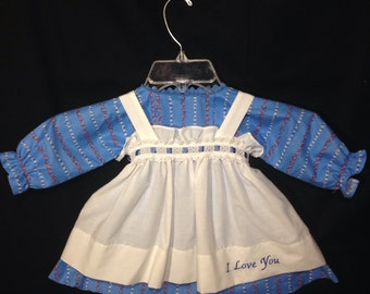 Dress and Apron for 30 INCH Raggedy Ann Doll, Blue Floral Ptrint Dress, Embroidered Apron with Ribbon and lace trim at the waistband