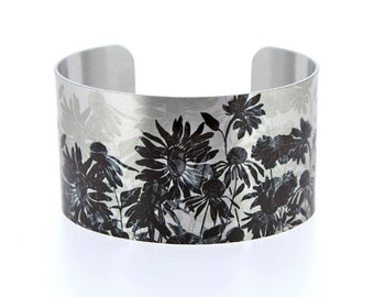 Statement cuff bracelet, artistic botanical wide metal bangle, brushed silver with black grey flowers, artistic jewellery gift for her. C491