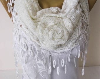 White Scarf-Fashion Shawls-Trend Scarf ,gift Ideas For Her Women's Scarves- gift- for her -Fashion accessories