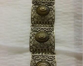 Panel bracelet antique gold tone