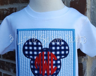 Mickey Mouse Monogrammed Shirt-Embroidered Shirt- Disney Vacation Shirt- Boys Mickey Shirt- Monogrammed Shirt