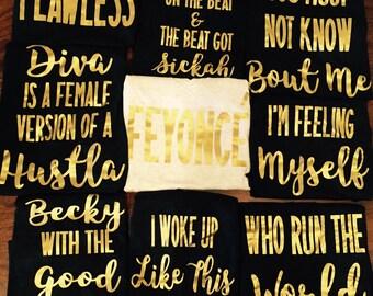 Beyonce bachelorette party tanks / bachelorette party favors / fast shipping