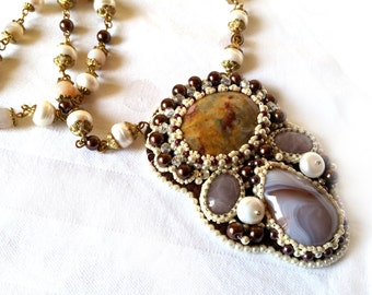 Handmade Necklace with Botswana agate, Collars, Necklaces, Handmade embroidery, Seed Beeds, Original Jewellery, Pearls, Women Gifts