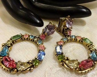Vintage 1953 Hollycraft Multi-Coloured Dangly Hoop Earrings