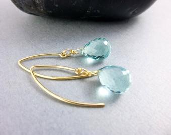 Seafoam Quartz Chakra Earrings, Throat, Third Eye Chakras,  Gold-Fill Almond Shape Ear Wires, Healing Crystals Jewelry, Chakra Jewelry