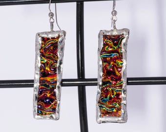 Stained glass multi colored earrings