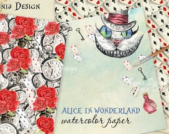 Alice in Wonderland Paper Pack Alice Digital Paper Pack Watercolor Alice in Wonderland Scrapbook  Background Fairytale