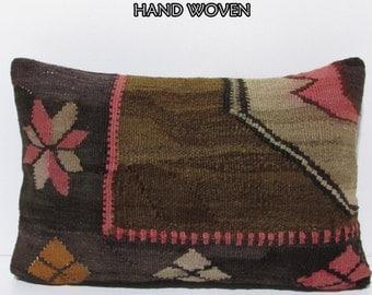 decorative kilim pillow 16X24 brown floor cushion bohemian throw pillow brown toss pillow cover earthy throw pillow kilim pillow sham E535