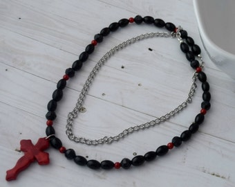 Long Bible Necklace Chainmaille Jewelry With Red and Black Beads