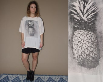 80's vintage women's peach ananas printed oversize T-shirt