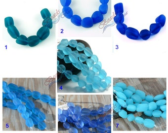 More Color~7pcs(10-15mm) SM Blue Tumbled Nuggets Cultured Sea Glass~ Jewelry Making Supply~Beach Beads~ Matte