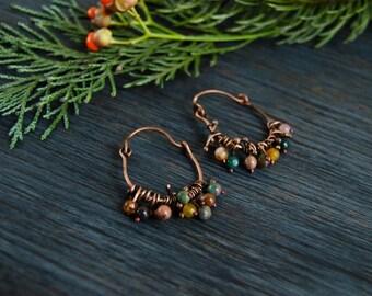 SALE Ethnic hoop earrings with agate and jasper, boho style jewelry, copper hoop multicolored earrings