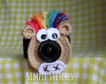 Rainbow Horse Camera Lens Buddy - Crocheted Lens Helper