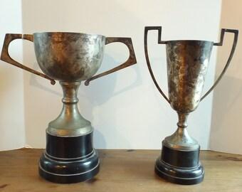 "Vintage Silver Trophy Cup Goblet Decanter Large Art Deco Double Handle Unmarked 14"" PICK 1"