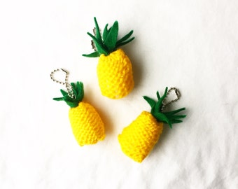 Combo Pack of 3 Pineapple Keychains, Yellow Knit Wallet Keychain, Knitted Keychain, Pineapple Gift, Pineapple Accessory