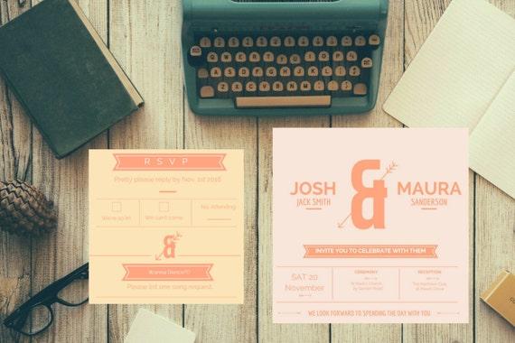 Wedding Invitation I Typography I Orange & Peach I Simple I Modern I Arrows