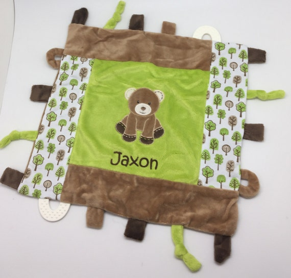 Baby boy gift personalized blanket with tags